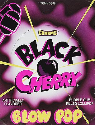 Charms Black Cherry Blow Pops, Candy, Suckers Lollipops Gum in Center (48 Pack)  - Charms Candy