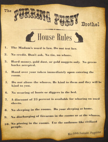 Purring Pussy Brothel Rules Novelty Poster, old west western, bordello cat house