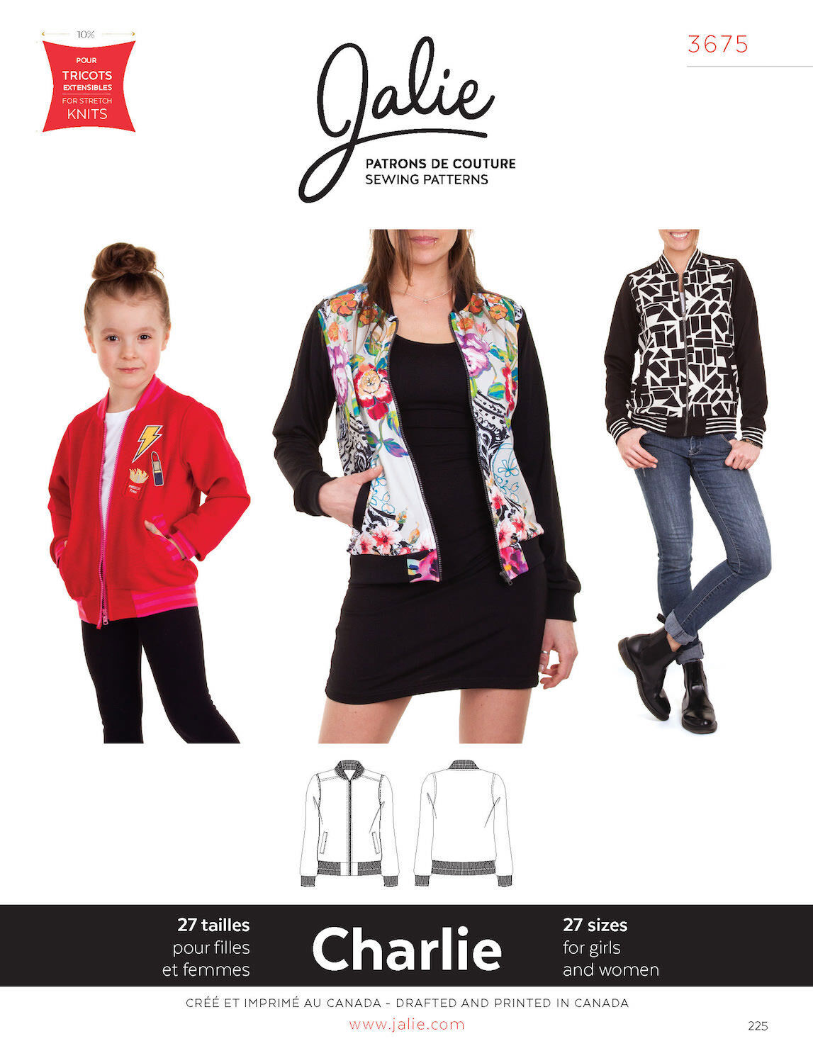 Jalie 3675 Charlie Bomber Jacket in Stable or Stretch Knits