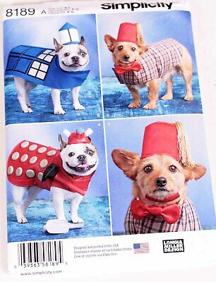 Dr Who Dog Costume (UNCUT Simplicity 8189 Doctor Who Darlek Tardis Dog Halloween Costume Coat &)