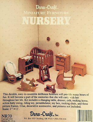 Dura-craft Miniature Dollhouse Nursery Furniture