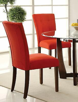 Red Microfiber Button Tufted Back Padded Seat Baldwin Dining Side Chair Set of 2 Button Tufted Seat