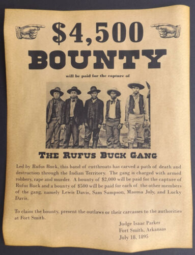 Rufus Buck Gang Wanted Poster, Western, Outlaw, Old West