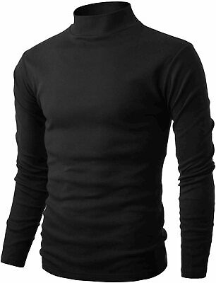 Mens Slim Fit Soft Cotton Pullover Lightweight, Dct040-black, Size Large WzRM - $13.99