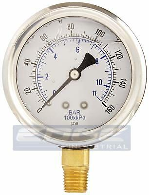 Liquid Filled Pressure Gauge 0-160 Psi 2.5 Face 14 Npt Lower Mount Wog