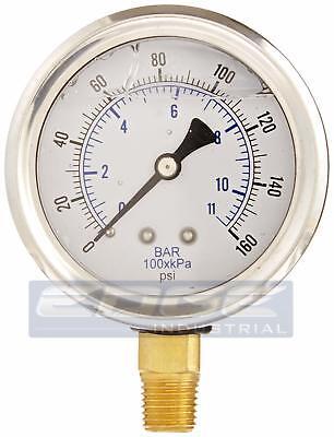Liquid Filled Pressure Gauge 0-160 Psi 2.5 Face 14 Npt Lower Mount Wog