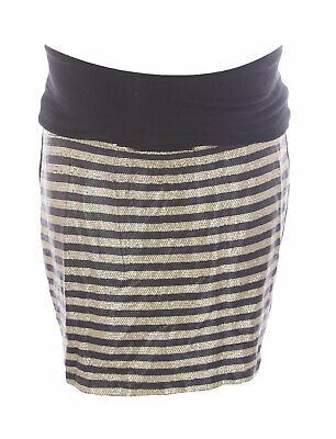 JULES & JIM Maternity Women's Gold/Black Sequin Mini Skirt H14422 Sz M NEW