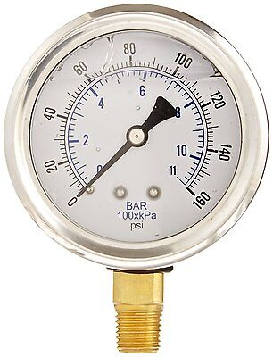 Liquid Filled Pressure Gauge Hydraulic Lower Mnt 1.5 Face 0-160 18 Npt