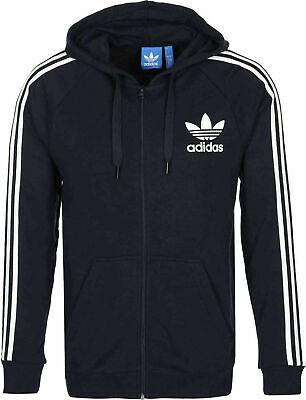 NEW Adidas Men's Trefoil Three Strip Fleece Zip Hoodie Sweatshirt - BLACK Stripe Zip Fleece