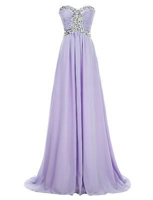NEW Erosebridal Long Dress Crystal Beaded Lavender Chiffon Bridesmaid Sz 6