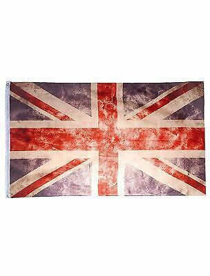 VINTAGE LOOK UNION JACK FLAG 5X3 FT EYELETS FOR HANGING TEAM GB UK GREAT BRITAIN
