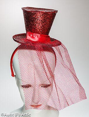 Top Hat Mini Red Sequin Top Hat With Headband Burlesque Showgirl Costume Hat (Red Sequin Top Hat)