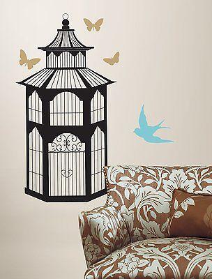BIRDCAGE Butterfly Birds 23 Wall Decals Room Decor Decorations Bird Cage Sticker
