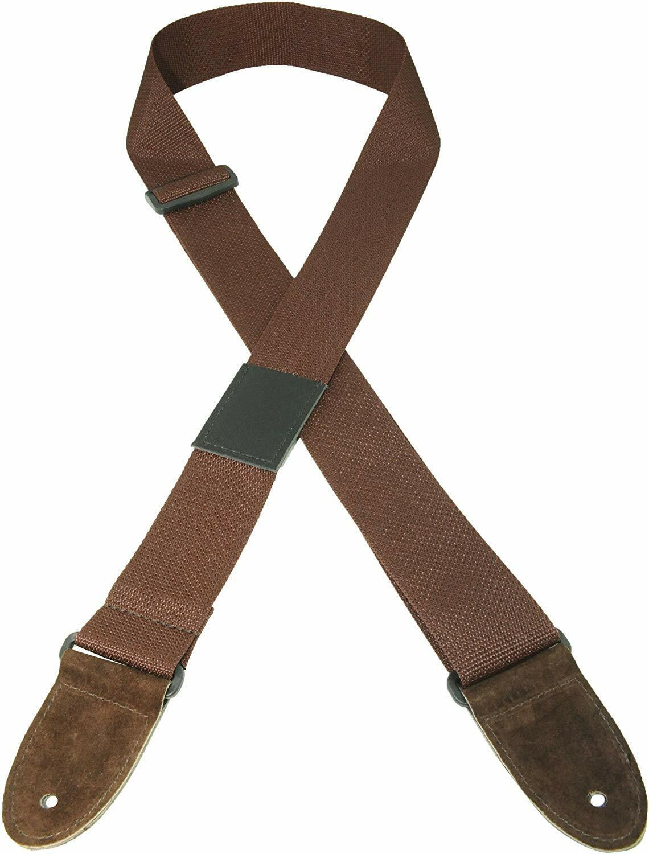 "Perri's Leather 2"" Adjustable Brown Nylon Guitar Strap w/ Pi"