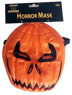 Scary Pumpkins For Halloween (Scream Machine Branded  PUMPKIN devil Mask For Halloween party)