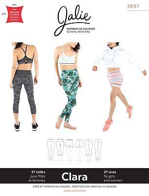 Jalie 3887 Clara High-waisted Leggings in 3 Lengths Sewing Pattern Women & Girls