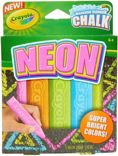 Crayola Washable Neon Sidewalk Chalk, 5 Anti-Roll Chalk Sticks, Outdoor Toy