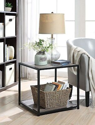 Square Side Table Furniture End Accent Industrial Rustic Metal Brown Nightstand