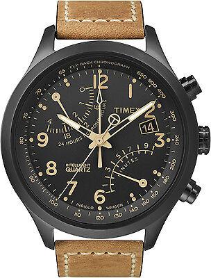 Timex Men's IQ T2N700 Brown Calf Skin Quartz Watch