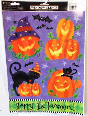 Window Clings Happy Halloween Jack O Lanterns Black Cats Bats  Halloween Decor
