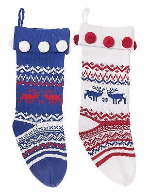 Knitted Christmas Stockings Traditional Holiday Season Santa Socks- Set of 2 ()