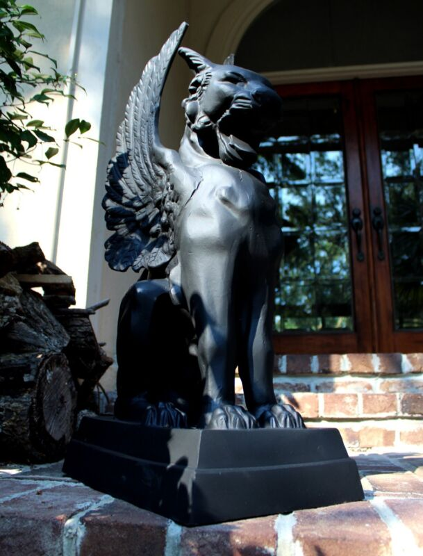 Pair of Gargoyle Statue Cat Faced Griffin with Wings Metal