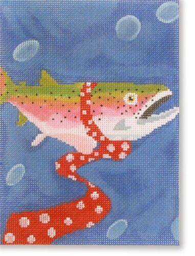 Needlepoint Handpainted CBK Fish Wearing Tie 5x7