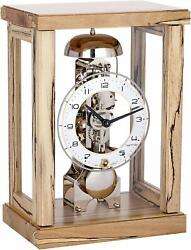Table Clock with Skeleton Clockwork 14 Days with Sounds on, Solid Beech Wood