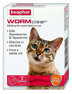 Beaphar Worm Clear - Cat Worming Tablets - Treats Roundworms & Tapeworms - 2 Tab