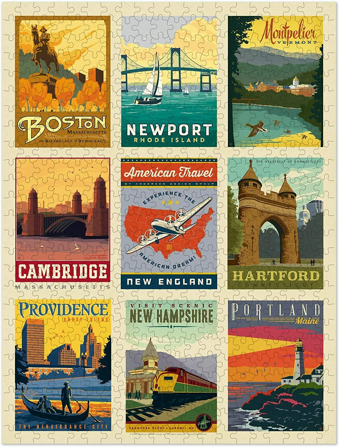 500 Piece Jigsaw Puzzle Educational Learning Game Toy Travel New England Contemporary Puzzles