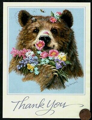 Thank You Bear Bees  Bouquet Of Flowers  - LARGE - Thank You BLANK Greeting Card](Large Thank You Cards)