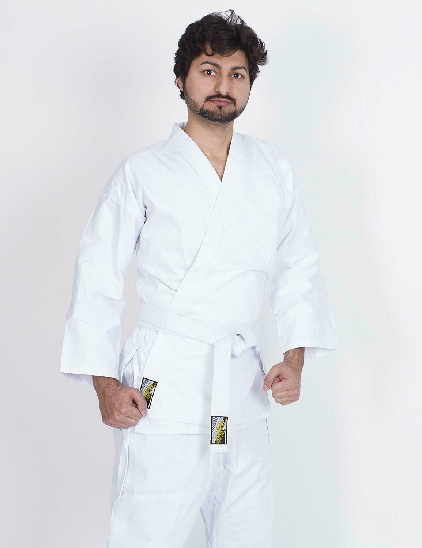 Karateanzug weiß mit Weißgurt- Hawk Sports ® Große 100 bis 200