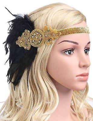 Pink Feather Headpiece (Vintage Black Feather Silver 20s Headpiece 1920s Flapper Headband Gold /)