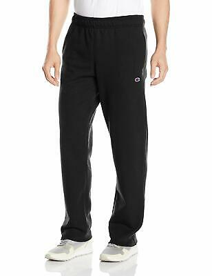 Champion Men's Powerblend Sweats Open Bottom Pants Black M