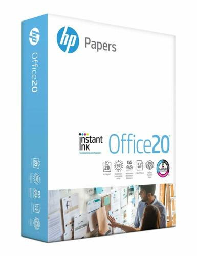 "HP Office20 Printer Paper, White Letter Size 8.5"" x 11"", One Ream / 500 Sheets"