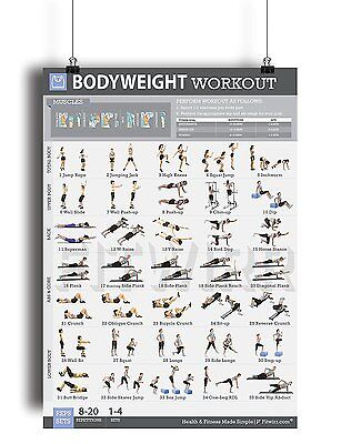 Bodyweight Exercise Poster Laminated Personal Trainer Gym/Home 19