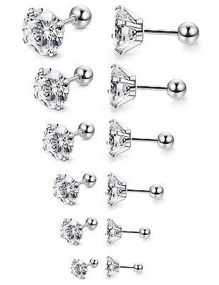 Women Men Silver Stainless Steel Round Cubic Zirconia Stud Earrings Screw Back
