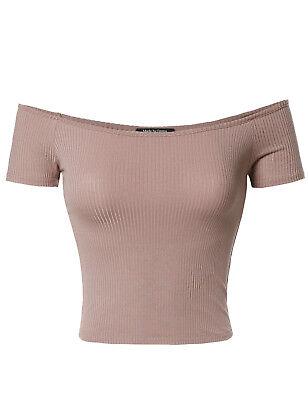 FashionOutfit Women's Solid Soft Stretchable Short Sleeve Off-Shoulder Crop Top Off Shoulder Crop