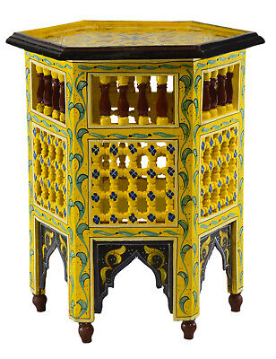 Moroccan Handmade Moucharabi Table Side Delicate Hand Painted Exquisite yellow   Yellow Side Table