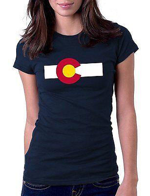 Colorado State Flag  Navy T Shirt Womens Tshirt Tee