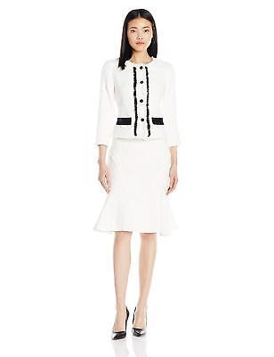 Nanette Nanette Lepore Boucle Jacket & Skirt Suit w/Contrast Detail 14 Nwt $300