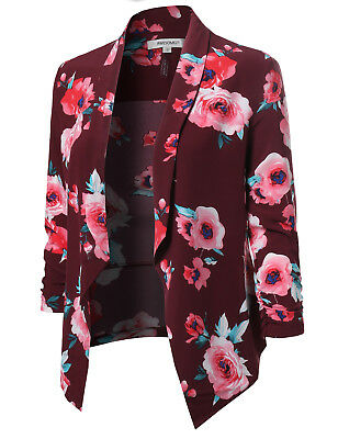 FashionOutfit Women's Floral Lightweight Open Front Shirring Sleeve Blazer