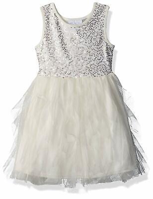 Groß Mädchen Kinder The Childrens Place Elfenbein Tüll Tank Perlen Kleid S 5/6 ()