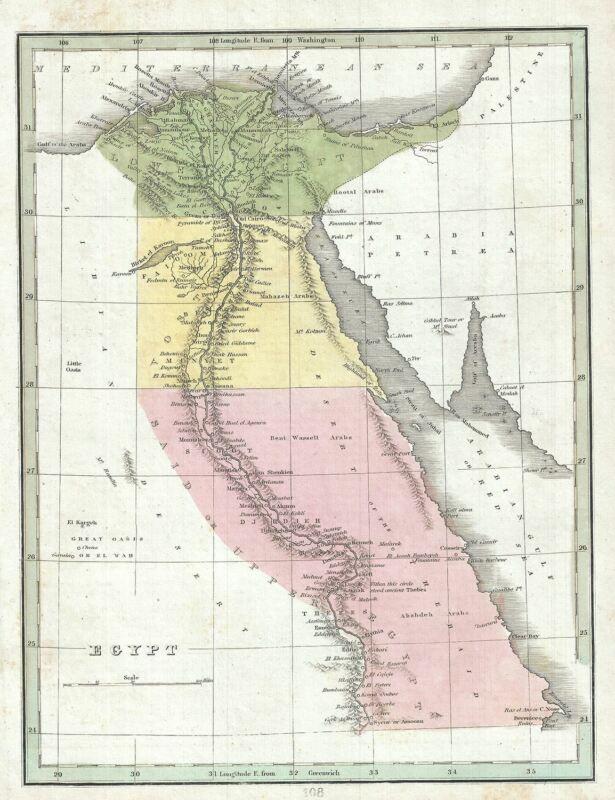 1835 Bradford Map of Egypt