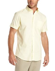 mens lee light yellow button down short sleeve oxford