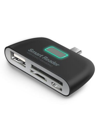 Micro USB 2.0 OTG charging Adapter 4-in-1 Micro SD Card Reader (Black)