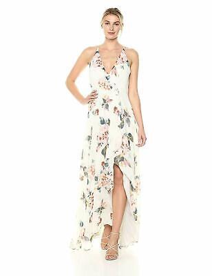 Jenny Yoo Women's Farrah Halter Faux Wrap Floral Chiffon Gown, Soft Sage Blue,18