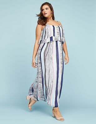 NEW LANE BRYANT PAINTED STRIPES TIERED PLEATED MAXI DRESS SZ 26/28