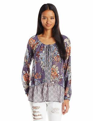 O'NEILL Junior's Delaney Printed Floral Blouse - Greystone - Size (Junior Small Size)