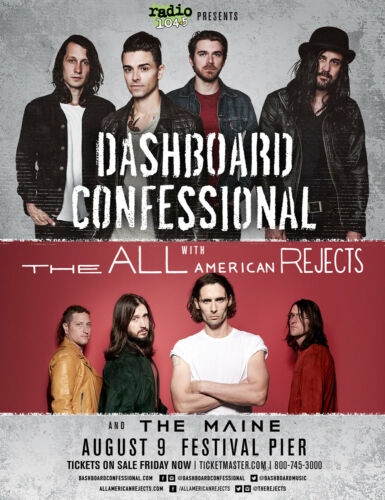 DASHBOARD CONFESSIONAL/THE ALL AMERICAN REJECTS 2017 PHILADELPHIA CONCERT POSTER